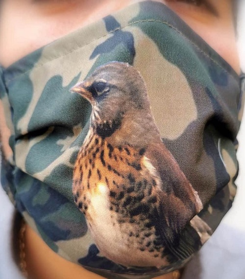 Masque protection grive litorne camo