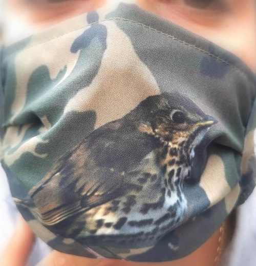 Masque protection grive musicienne camo